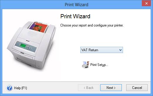 Printing a VAT Return